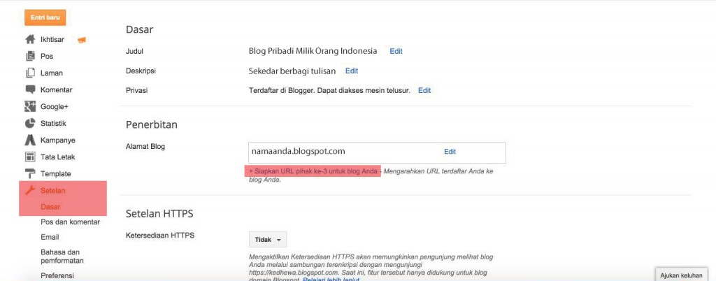 Tutorial merubah alamat blogspot menjadi domain .com