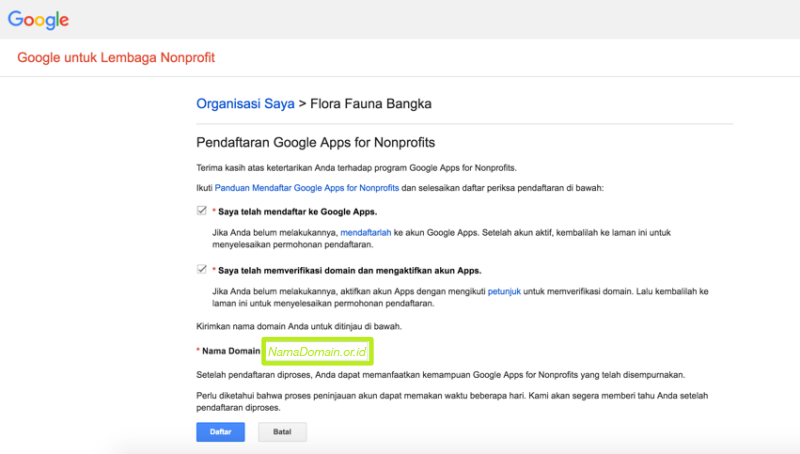 Aktifasi Google Apps pada Akun Google for NonProfit 4