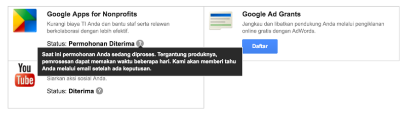 Aktifasi Google Apps pada Akun Google for NonProfit 5
