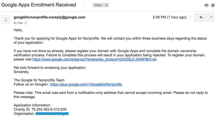 Mengaktifkan Admin Console Google Apps akun Google for NonProfit 1