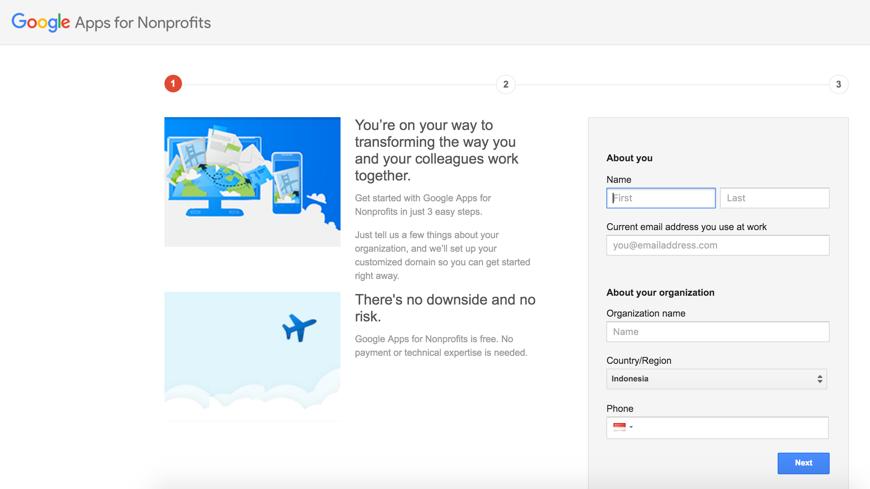 Mengaktifkan Admin Console Google Apps akun Google for NonProfit 2