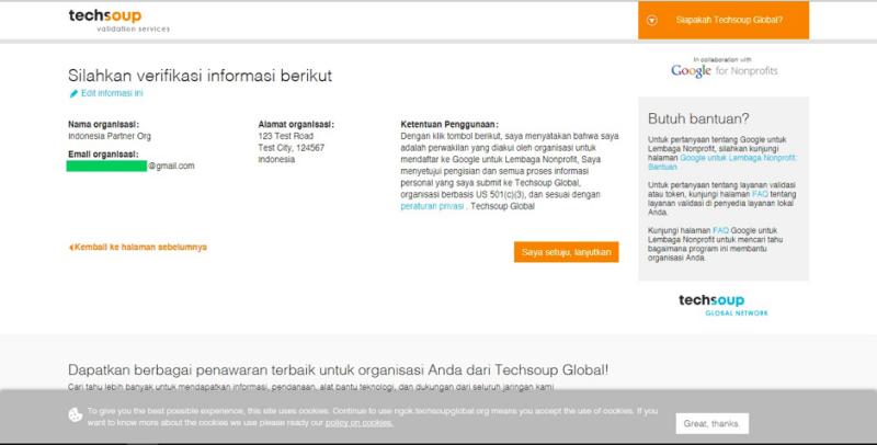 Mengaktifkan Akun Google For NonProfit dengan Validasi Token Techsoup Asia 3