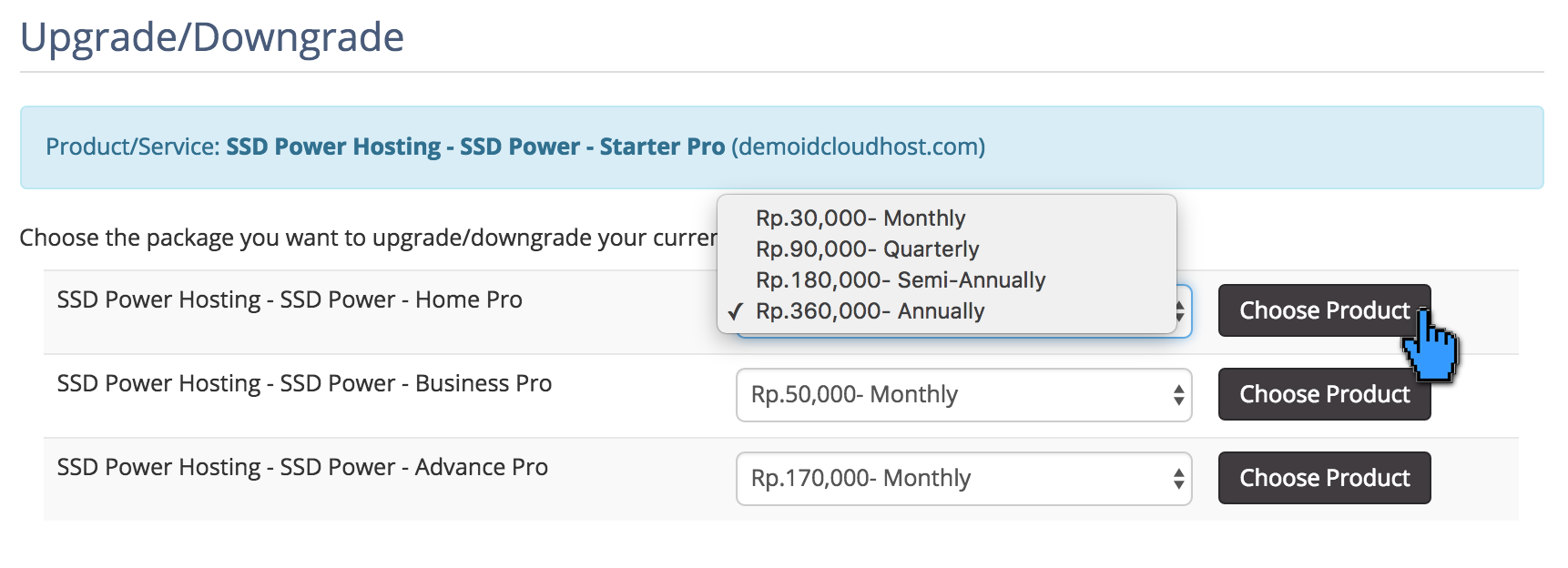 Cara Upgrade dan Downgrade Hosting 6