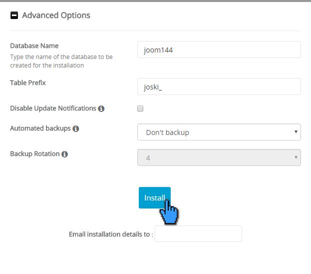 Cara instalasi joomla di cPanel 10(pointer)