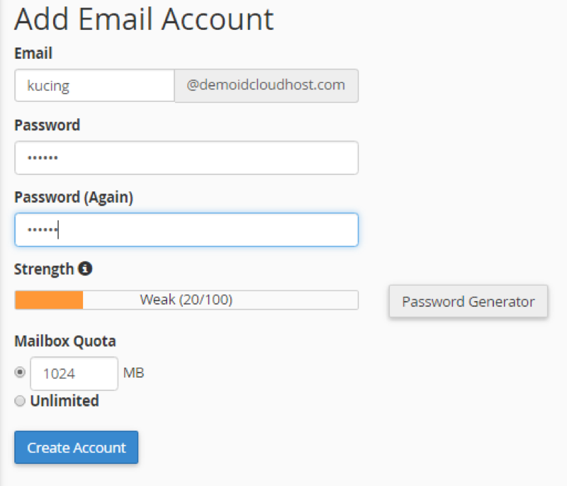 Cara membuat surel dengan domain sendiri di Cpanel 2