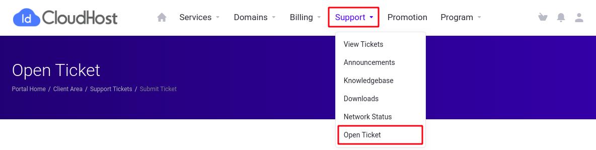 Menu open ticket idcloudhost 2020