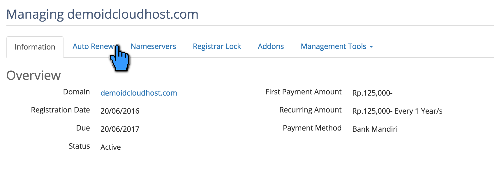 Perpanjang Masa Aktif Domain Otomatis 5