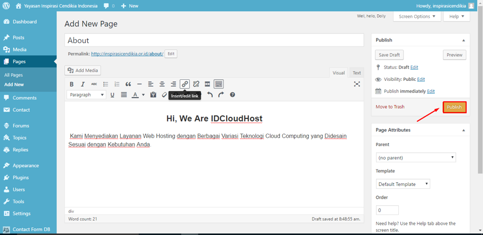 Cara Membuat Page (Halaman) di WordPress – Welcome