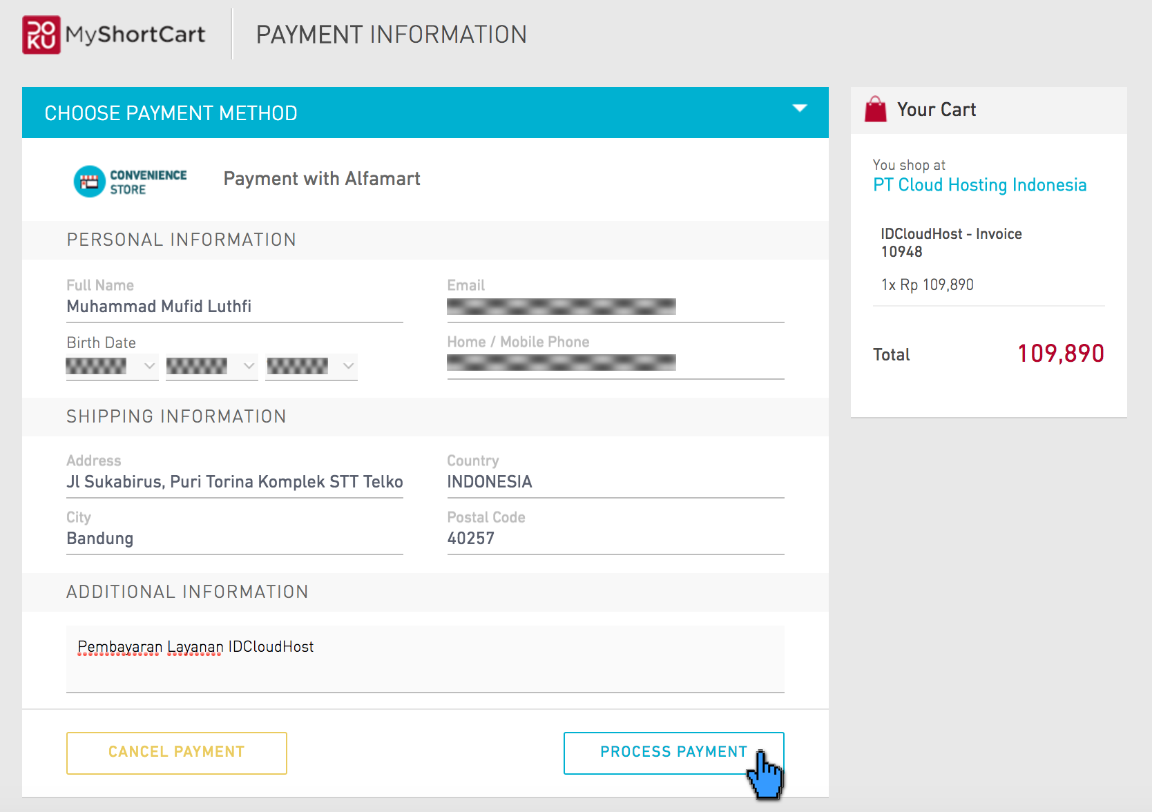 Pembayaran Layanan IDCloudHost via Alfamart