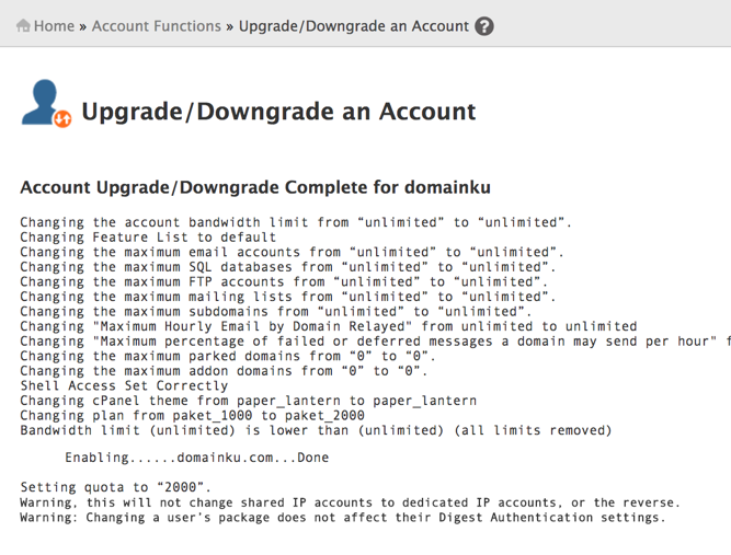 Tutorial Cara Upgrade/Downgrade cPanel Account di WHM