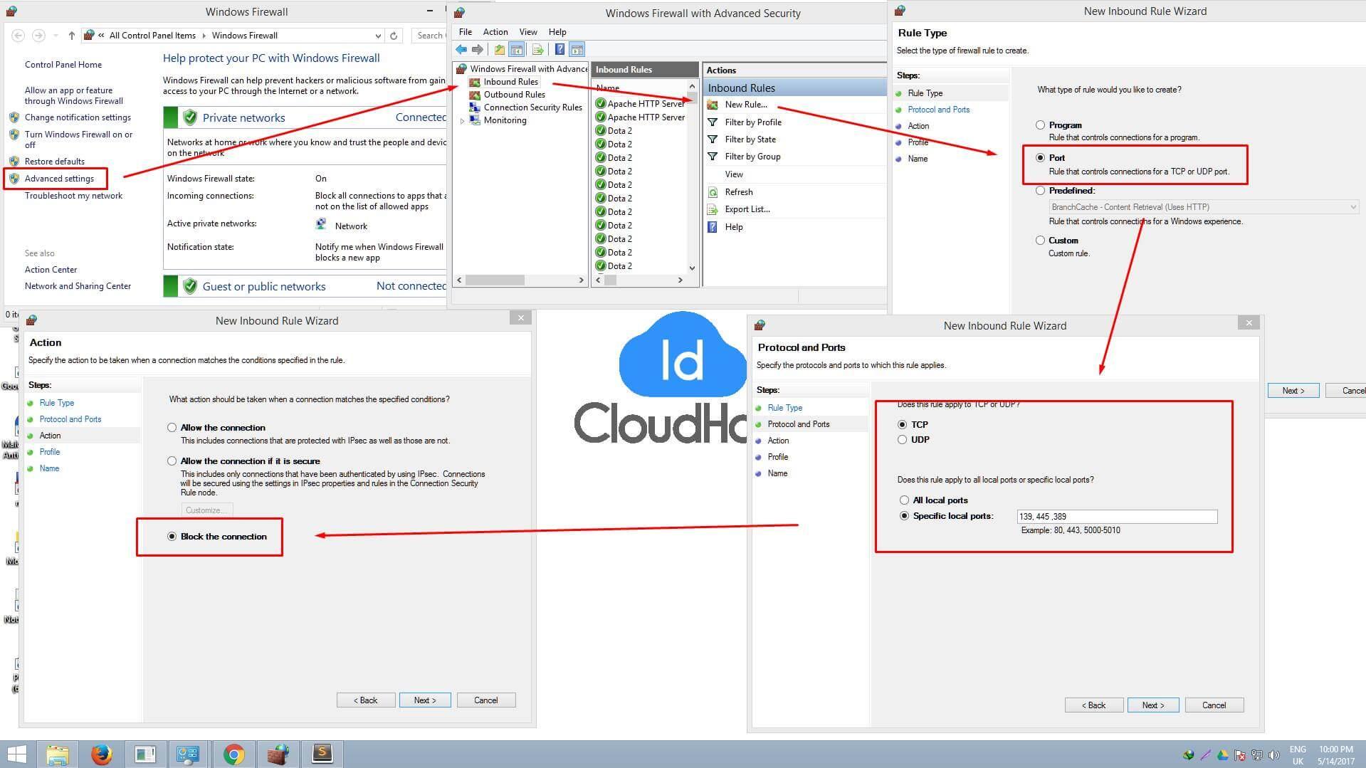Blokir port 139/445 dan 3389 | Tips Cara Mengatasi Malware Ransomware Wannacrypt
