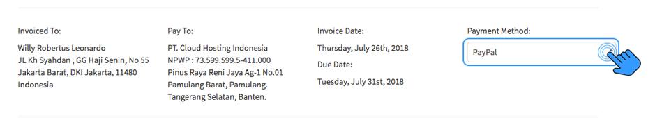 Pembayaran Layanan IDCloudHost via Paypal