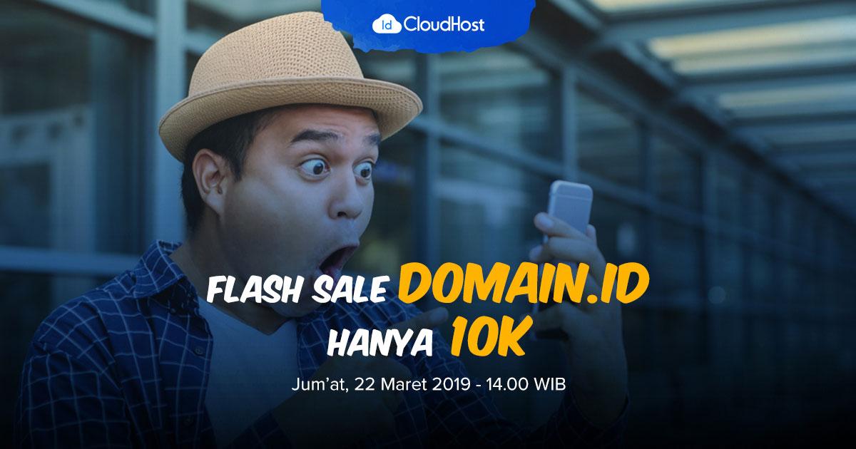 Promo Bulan Maret 2019 - Flash Sale Domain ID - Diskon 90% - Rp 10.000 IDCloudHost