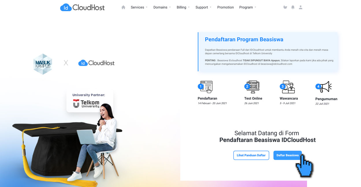 FAQ - Prosedur Pendaftaran Beasiswa IDCloudHost 2021