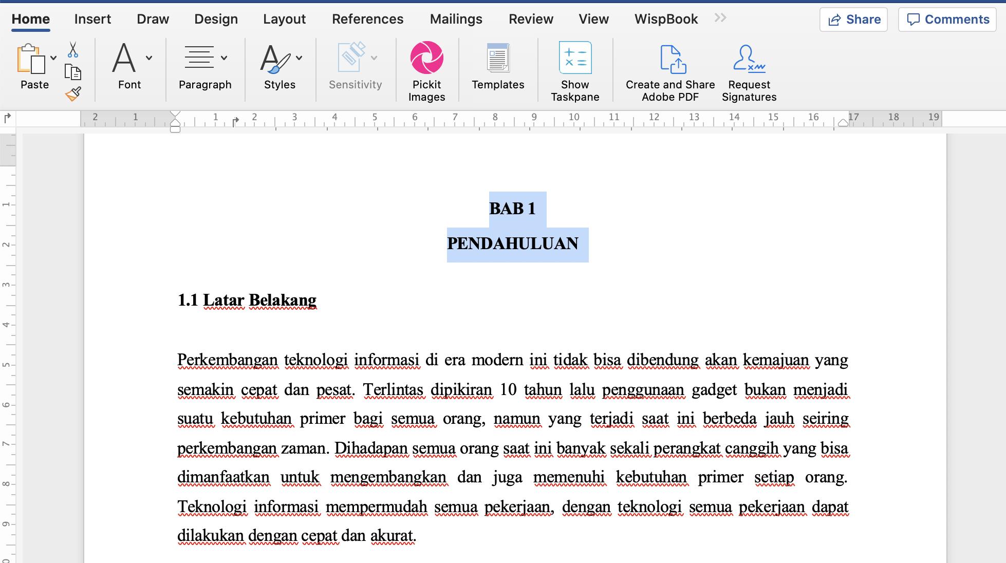 Contoh Pembuatan Makalah Word
