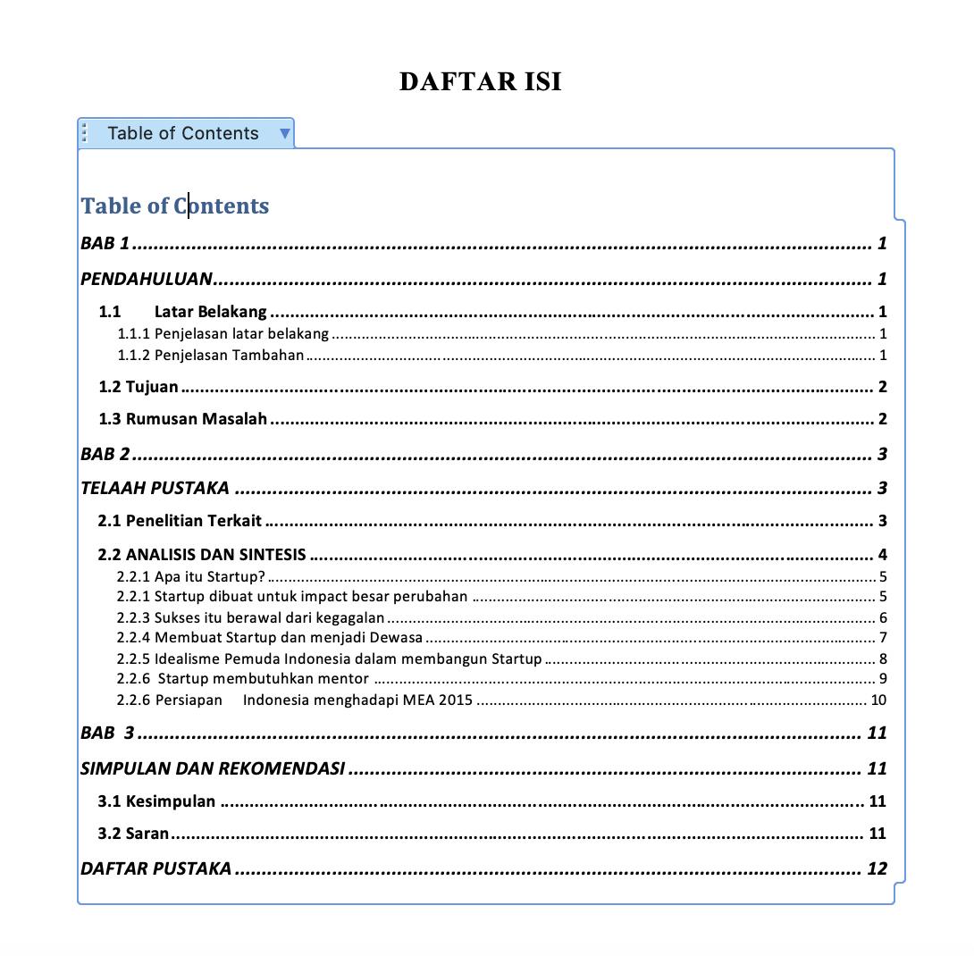 Cara Membuat Daftar Isi Secara Otomatis Pada Microsoft Word Lengkap Idcloudhost