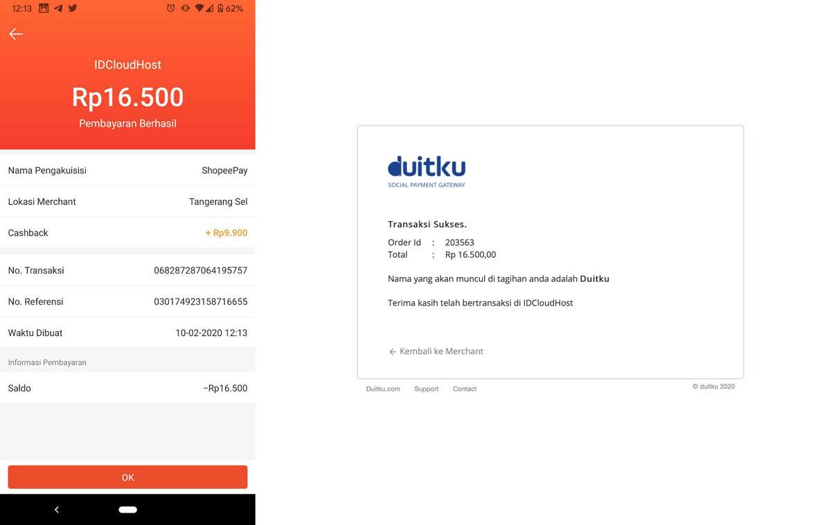 Pembayaran Layanan IDCloudHost via ShopeePay - Shopee
