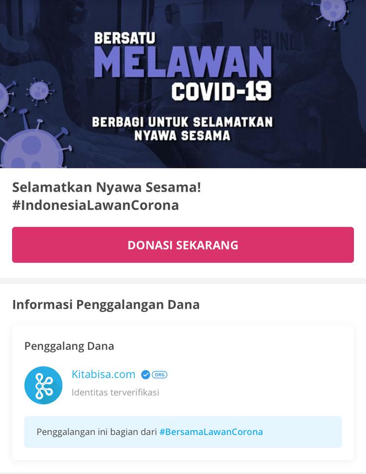 Campaign Melawan Virus Corona Kitabisa X IDCloudHost