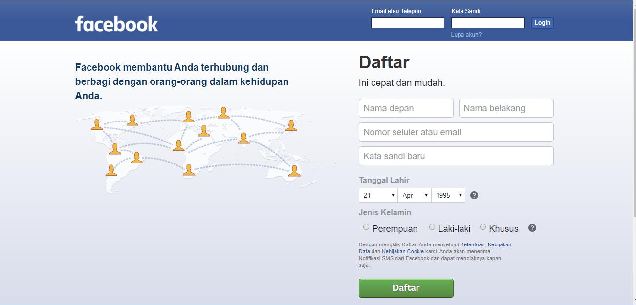 tutorial cara mendaftar akun facebook