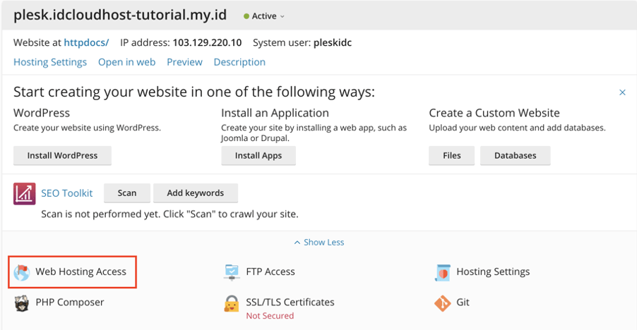 Mengatasi Error : No Secure Shell Available di Plesk | IDCloudhost