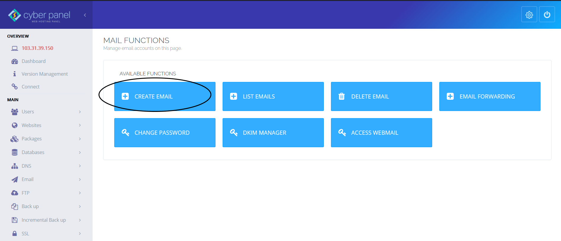 Create Email Cyberpanel
