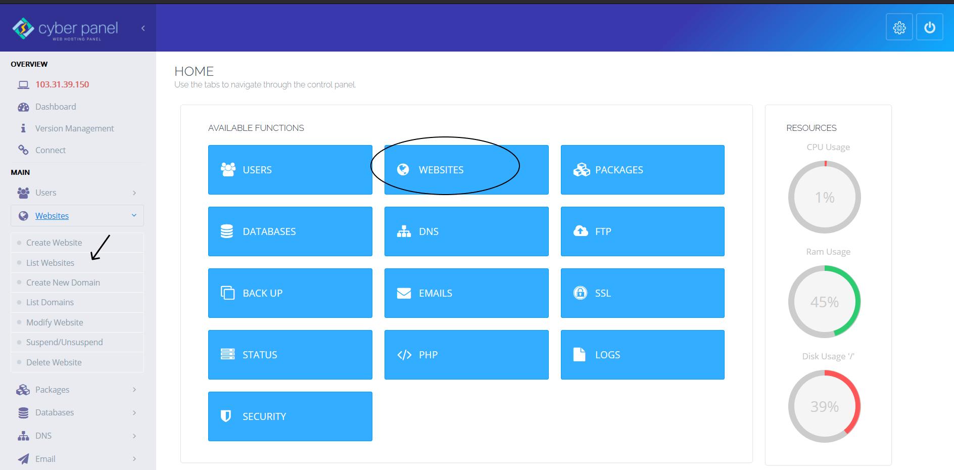 CyberPanel List Website
