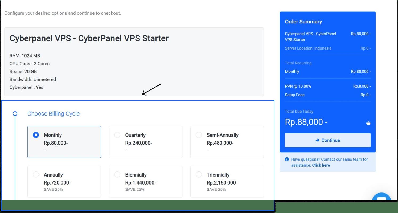 Pilih Periode Layanan Cyberpanel VPS