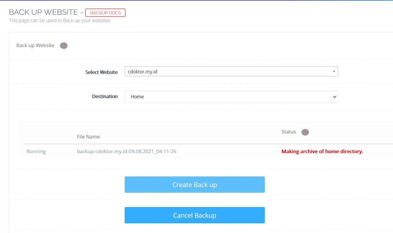 Cara Backup CyberPanel